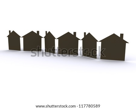 Paper houses / cut out paper - stock photo
