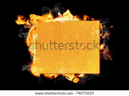 paper in fire isolated on black - stock photo