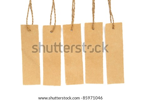 Paper label isolated on white background - stock photo
