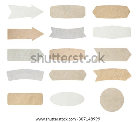 Paper labels isolated on white background, Objects with clipping paths for design work - stock photo