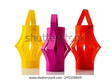 Paper lanterns isolated on white background - stock photo