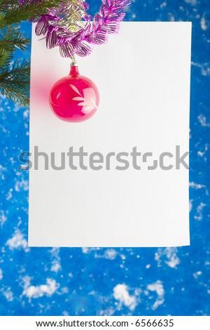 Paper leaf on christmas tree - stock photo