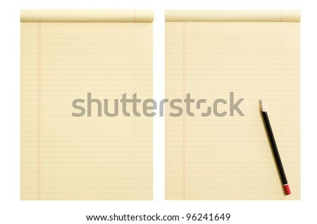 Paper line with and without pencil, isolated over white background - stock photo