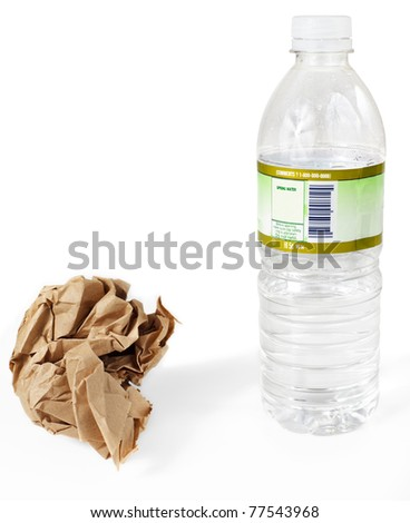 Paper lunch bag & plastic water bottle - disposable, not reusable - stock photo