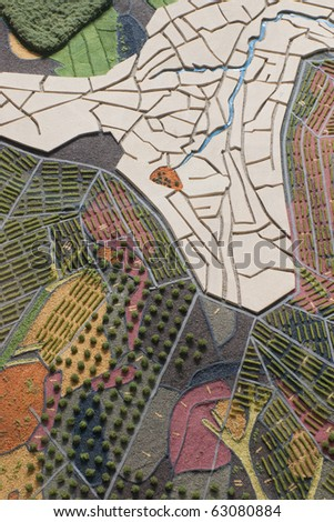 Paper maquette model of landscape with geological elements - stock photo