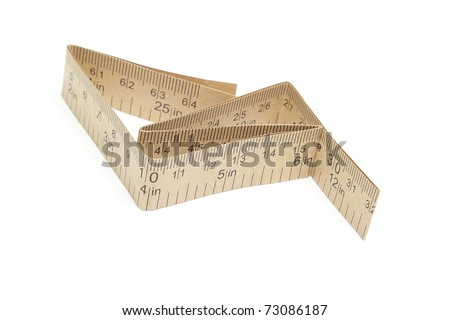 Paper measuring tape with inch and centimeter marks isolated on white background - stock photo