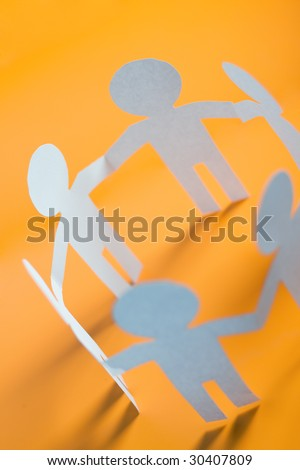 paper men showing concept for business teamwork and love - stock photo