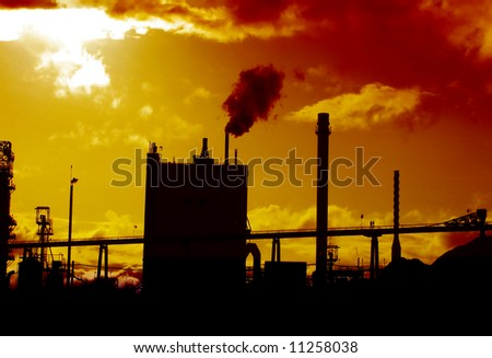 Paper Mill at Sunset in Albany, Oregon, USA