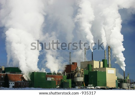 Paper Mill Producing a lot of Smoke 2 - stock photo