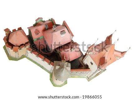 Paper model of an old bastioned town with entry port tower