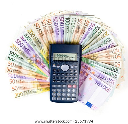 Paper money close up on white. One million Euros on calculator - stock photo