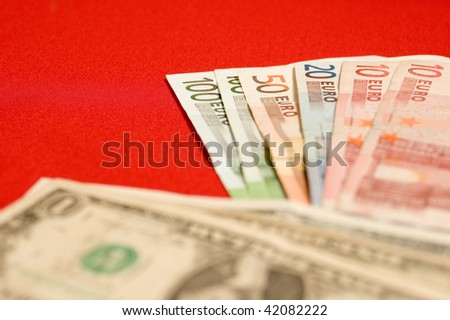 Paper money, dollars and euros