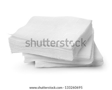 Paper napkins isolated on a white background - stock photo