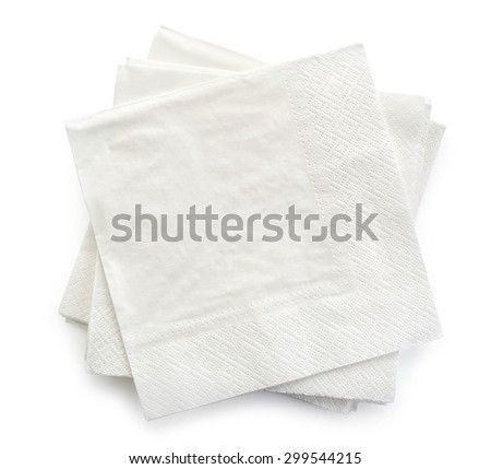 paper napkins isolated on white background, top view - stock photo
