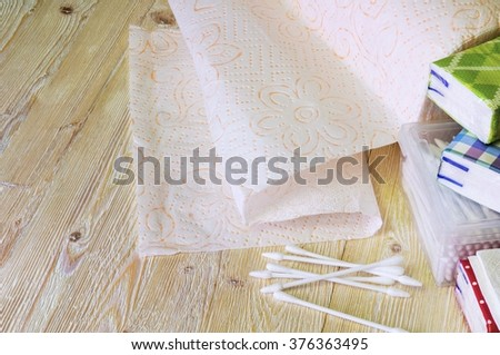 Paper napkins, towels and handkerchiefs. - stock photo