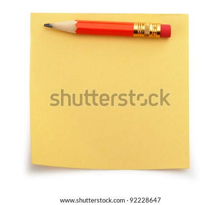 Paper note and a red pencil. It is isolated on a white background - stock photo