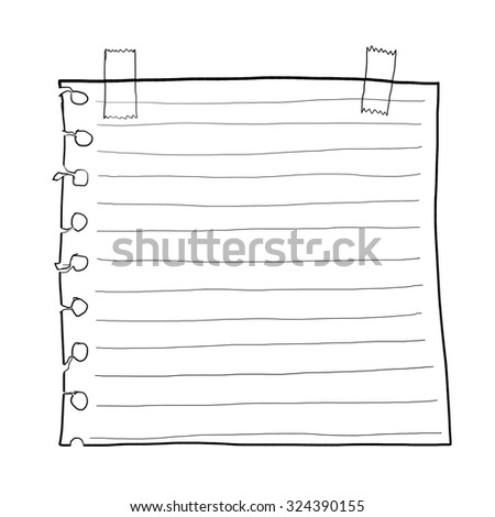 paper note and Masking Tape line art - stock photo