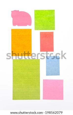 Paper note isolated on white background