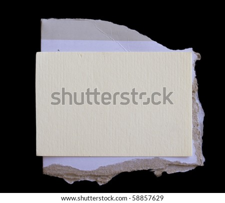 paper note on cardboard corrugated paper sheet - stock photo
