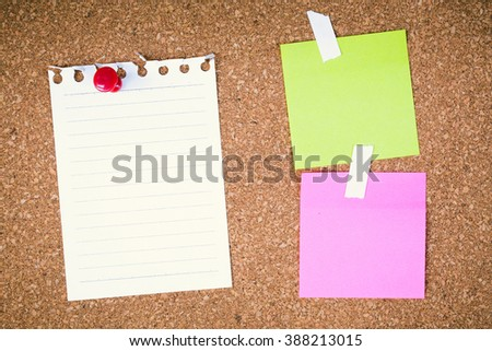 paper note on cork board. cork board with blank notes. sticker note empty space for add text.  - stock photo