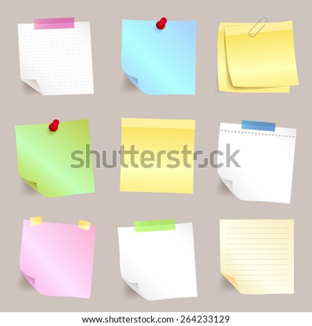 Paper note set different blank sticky list - stock photo