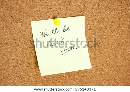 Goodbye Note On Small Cork Bulletin Stock Photo