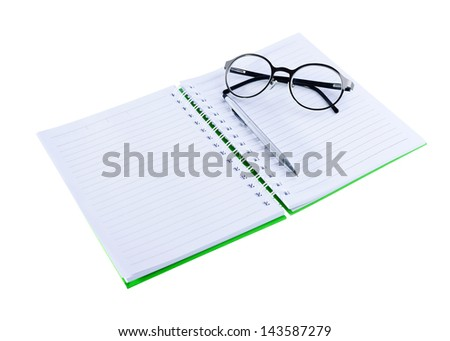 paper notebook right page, notebook isolated on white background - stock photo