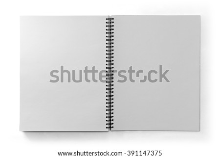 Paper notebook with black metal spring isolated on white background in top view with clipping path. - stock photo