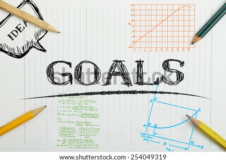 paper notebook with inscription goals , business concept - stock photo