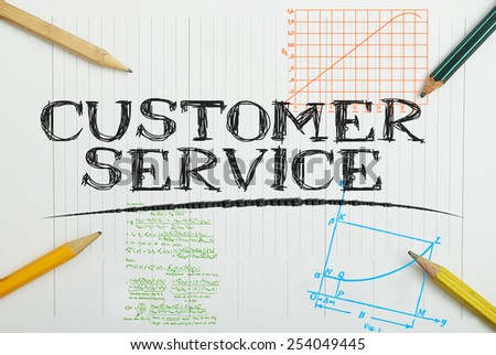paper notebook with inscription inside customer service, business concept - stock photo