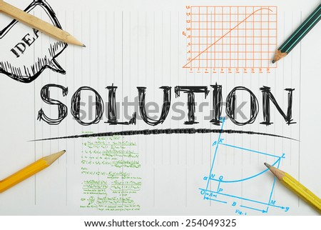 paper notebook with inscription solution , business concept - stock photo