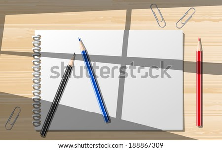 Paper notebooks with pensils. - stock photo