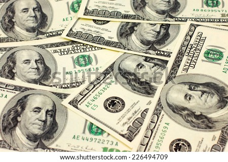 Paper notes dollars as element of the pay system - stock photo