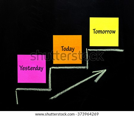 Paper notes on a chalkboard and a sketch of climbing stairs - stock photo