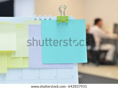 idea office supplies. Paper Notes On Calendar At Business Office With Copy Space For Writing Your New Idea, Idea Supplies S