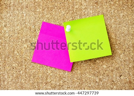 Paper notes on cork board