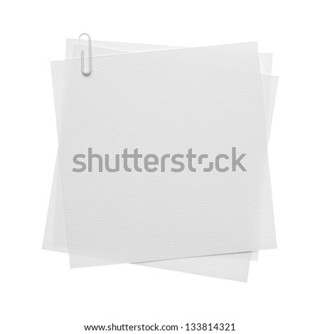 Paper notes with clip isolated on white - stock photo