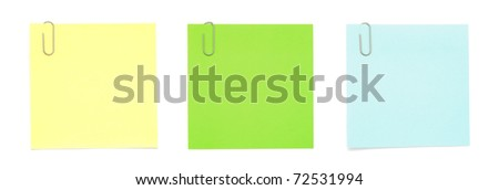 Paper Notes with Clips on white background