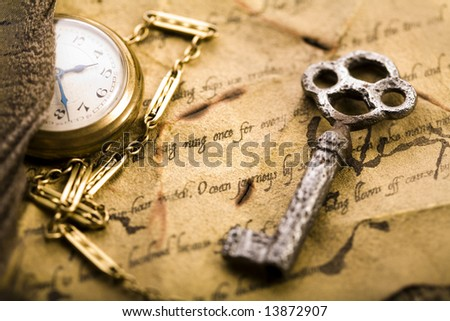 Paper & Old watch - stock photo
