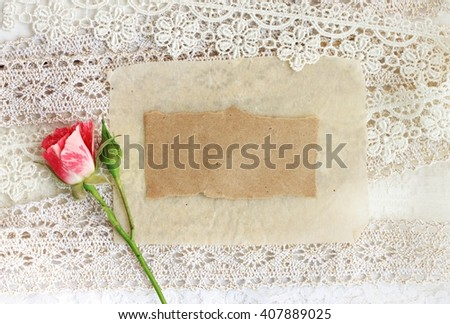 Paper on lace ribbons with rose. Tender romantic empty note message. - stock photo