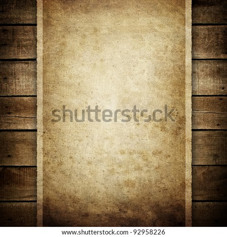 paper on wood plank - stock photo