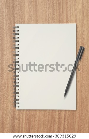 Paper on wood table for text and background.copy space - stock photo