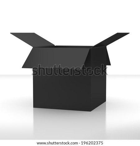 paper open box from side isolated. 3d render