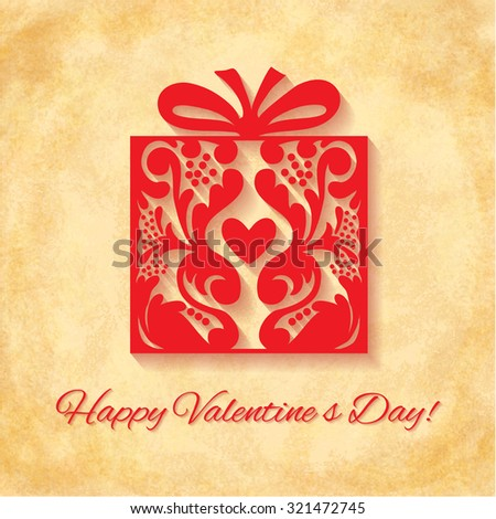 Paper Ornate Gift with Heart on vintage background. Happy Valentines Day Greeting card. Suitable for various designs, invitation and scrapbook. - stock photo