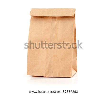 Paper package isolated on a white background - stock photo