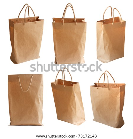 Paper package isolated on a white background (different view) - stock photo