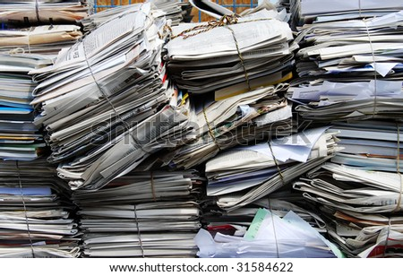 Paper packages for a recycling plant - stock photo