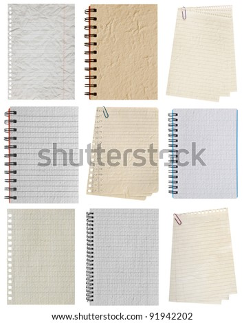 paper page collection notebook. textured isolated on the white  backgrounds - stock photo