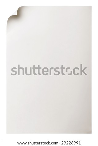 Paper page curl isolated on white.