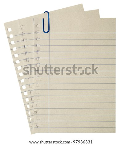 paper page notebook. textured isolated on the white backgrounds.